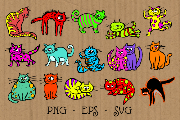 Print on Demand: Scruffy Cats Clipart Graphic Illustrations By Prawny - Image 2
