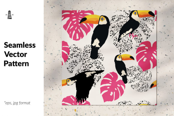Print on Demand: Seamless Background with Toucans Graphic Patterns By northseastudio