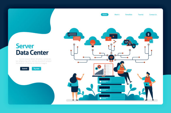 Print on Demand: Server Data Center Landing Page Design Graphic Graphic Templates By setiawanarief111