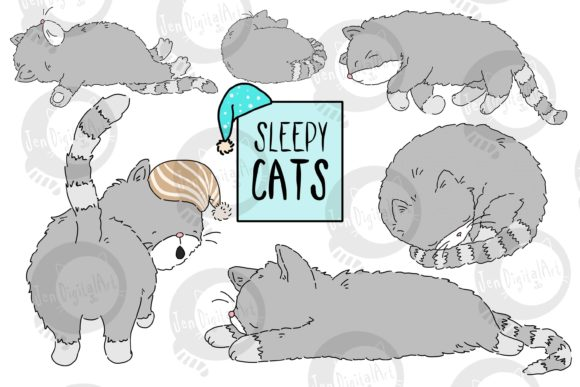 Download Free Sleepy Cats Graphic By Jen Digital Art Creative Fabrica for Cricut Explore, Silhouette and other cutting machines.