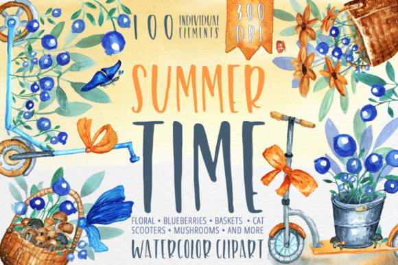 Print on Demand: Summer Time - Watercolor Clipart Graphic Objects By Gray Cat Graphics
