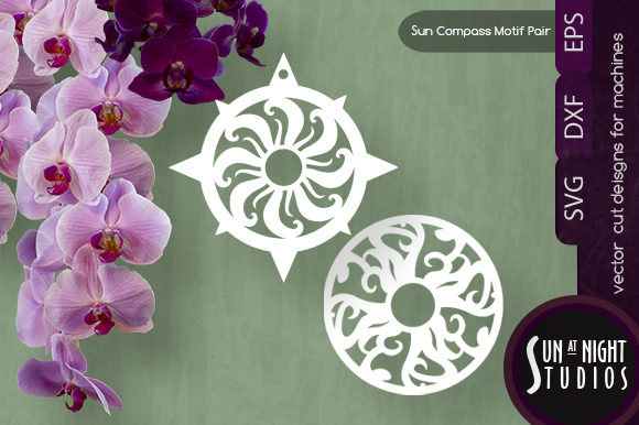 Sun Compass and Motif Pair Vector Cut Graphic Crafts By Sun At Night Studios