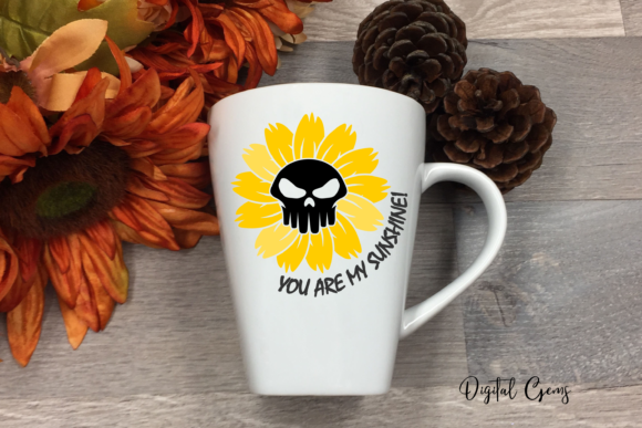 Sunflower Skull Design Graphic Crafts By Digital Gems - Image 4