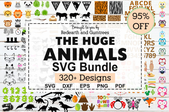 Download Free The Huge Animals Bundle Graphic By Redearth And Gumtrees for Cricut Explore, Silhouette and other cutting machines.