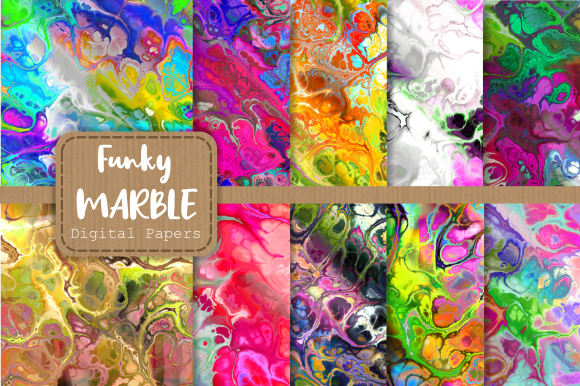 Print on Demand: Totally Funky Digital Marble Papers Gráfico Fondos Por Prawny