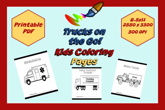 Trucks on the Go! Kids Coloring Pages Graphic Coloring Pages & Books Kids By JMB Creative Designs