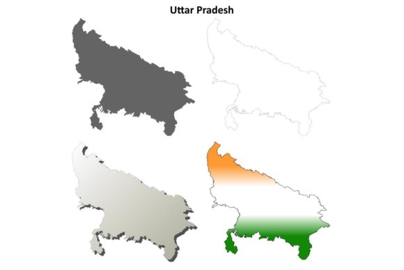 Download Free Uttar Pradesh Outline Map Set Graphic By Davidzydd Creative for Cricut Explore, Silhouette and other cutting machines.