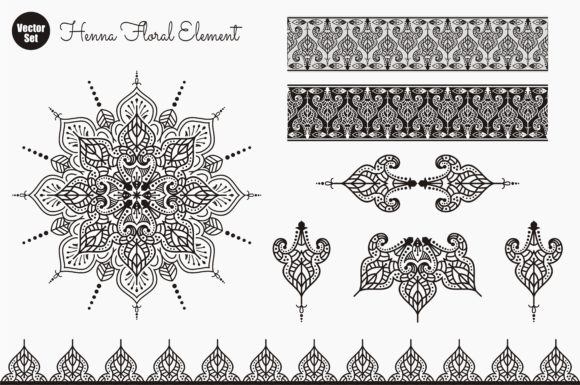Print on Demand: Vector Set of Henna Floral Elements. Graphic Crafts By Ahsancomp Studio