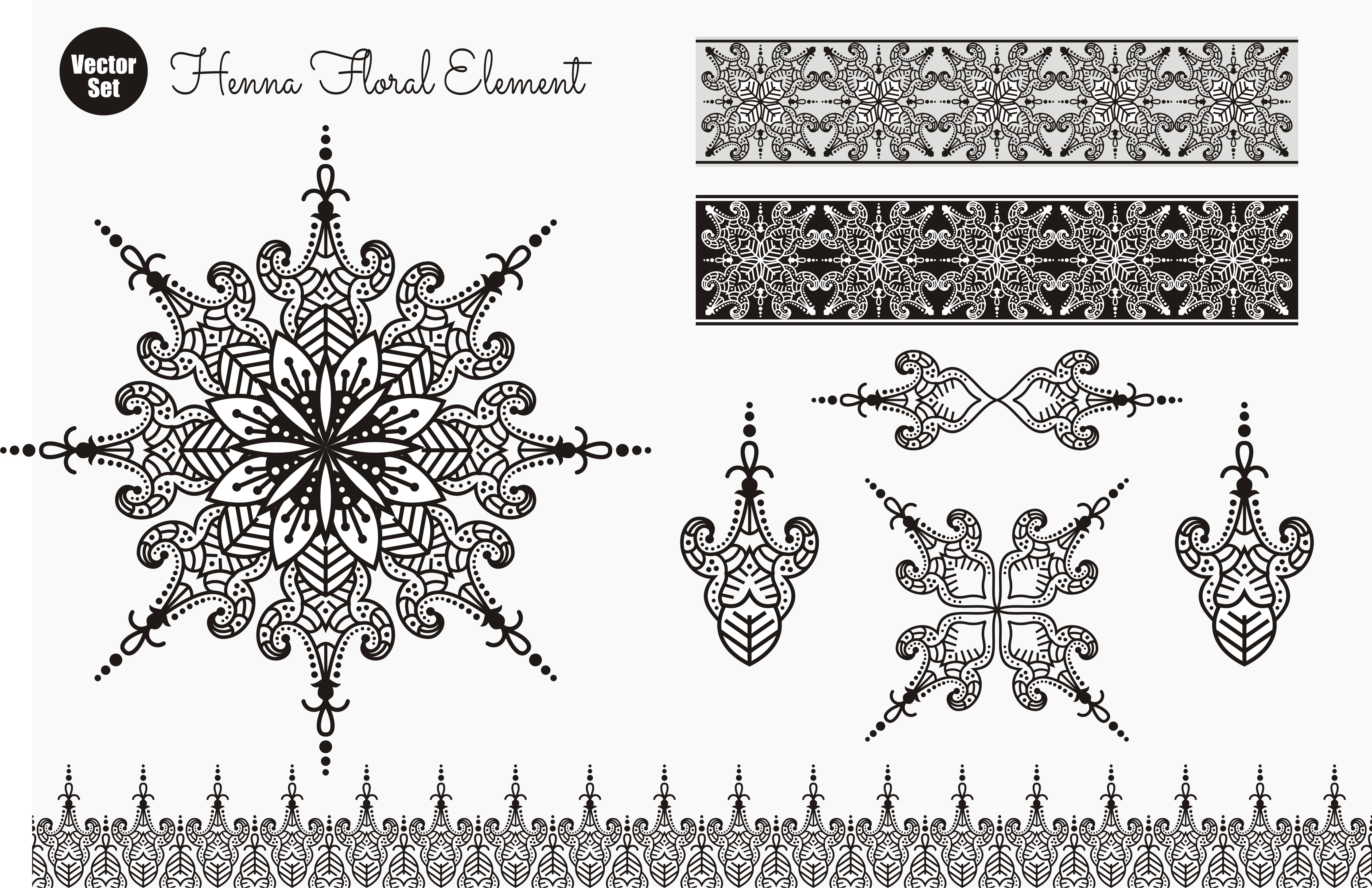 Download Free Vector Set Of Henna Floral Elements Graphic By Ahsancomp Studio for Cricut Explore, Silhouette and other cutting machines.