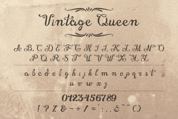 Print on Demand: Vintage Queen Script & Handwritten Font By OWPictures - Image 1