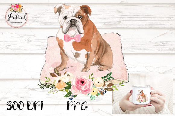 Download Free Watercolor Bulldog Transparent Graphic By Shepixel Creative for Cricut Explore, Silhouette and other cutting machines.