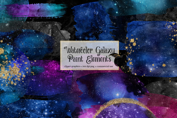 Print on Demand: Watercolor Galaxy Paint Elements Gráfico Ilustraciones Por Digital Curio