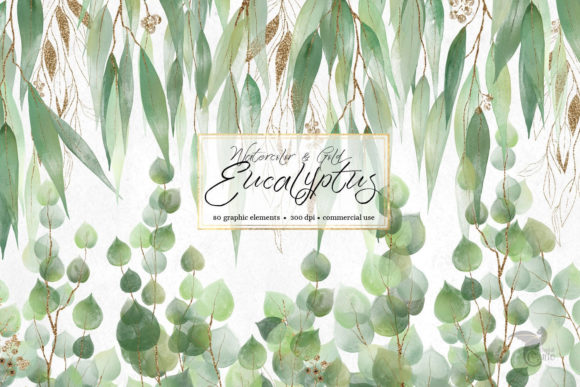 Print on Demand: Watercolor and Gold Eucalyptus Clipart Graphic Illustrations By Digital Curio - Image 1