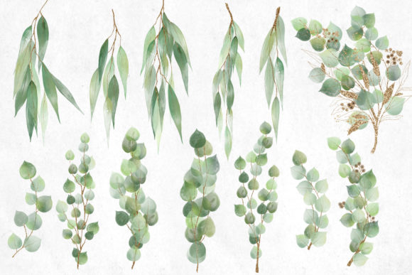 Print on Demand: Watercolor and Gold Eucalyptus Clipart Graphic Illustrations By Digital Curio - Image 2