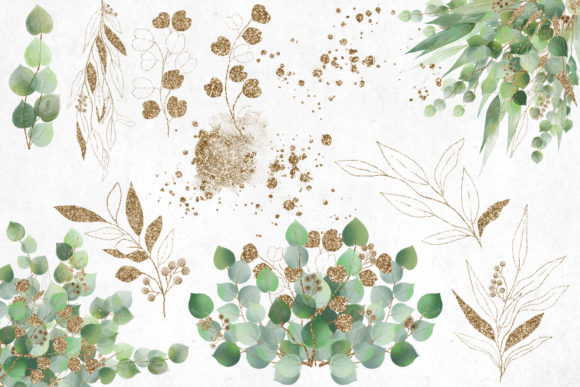 Print on Demand: Watercolor and Gold Eucalyptus Clipart Graphic Illustrations By Digital Curio - Image 3