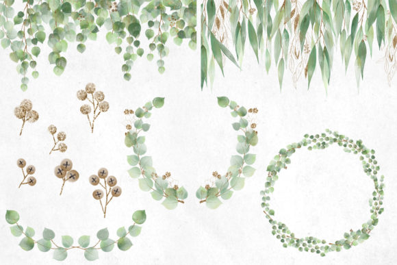 Print on Demand: Watercolor and Gold Eucalyptus Clipart Graphic Illustrations By Digital Curio - Image 4