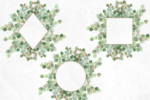 Print on Demand: Watercolor and Gold Eucalyptus Clipart Graphic Illustrations By Digital Curio - Image 5