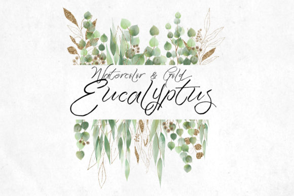 Print on Demand: Watercolor and Gold Eucalyptus Clipart Graphic Illustrations By Digital Curio - Image 6