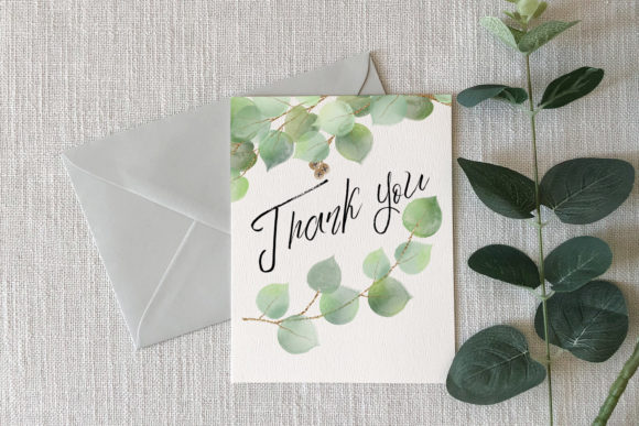 Print on Demand: Watercolor and Gold Eucalyptus Clipart Graphic Illustrations By Digital Curio - Image 7