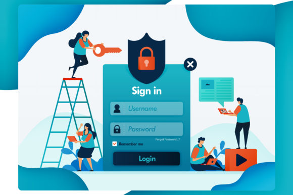 Print on Demand: Website Login of Protecting User Account Graphic Graphic Templates By setiawanarief111