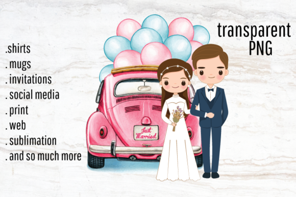 Wedding Couple Just Married Portrait Graphic Illustrations By Gypsy Doodle
