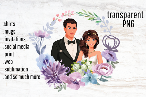 Download Free Wedding Couple Portrait Creator Clipart Graphic By Blueberry Jam for Cricut Explore, Silhouette and other cutting machines.