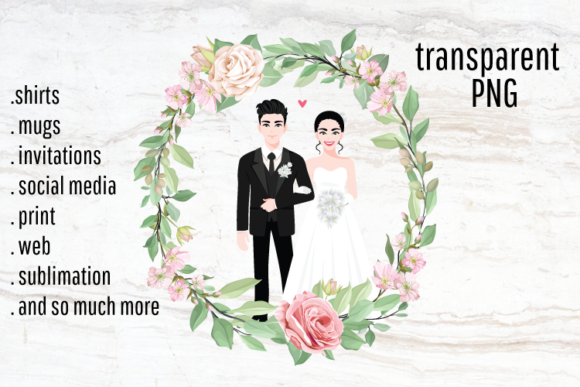 Print on Demand: Wedding Sublimation, Bride and Groom Graphic Illustrations By Blueberry Jam Design