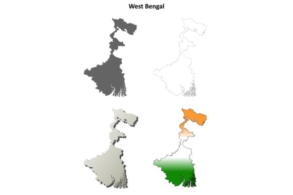 Download Free West Bengal Outline Map Set Graphic By Davidzydd Creative Fabrica for Cricut Explore, Silhouette and other cutting machines.