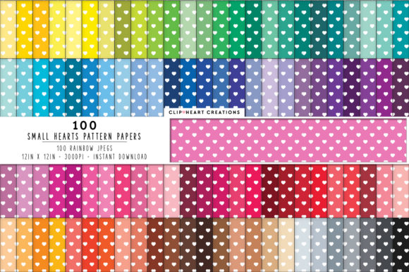 100 Heart Pattern Papers Graphic Backgrounds By clipheartcreations