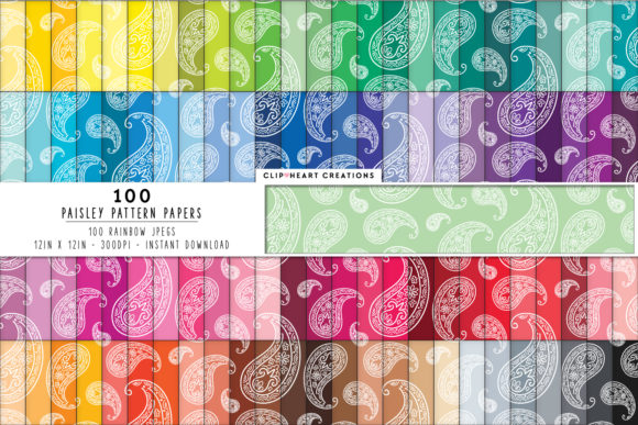 100 Paisley Pattern Digital Papers Graphic Backgrounds By clipheartcreations