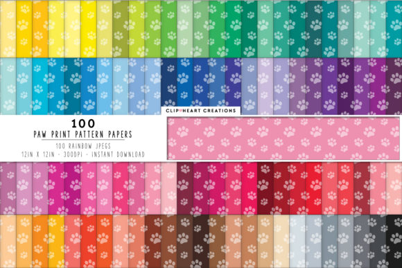 100 Paw Prints Pattern Digital Paper Graphic Backgrounds By clipheartcreations
