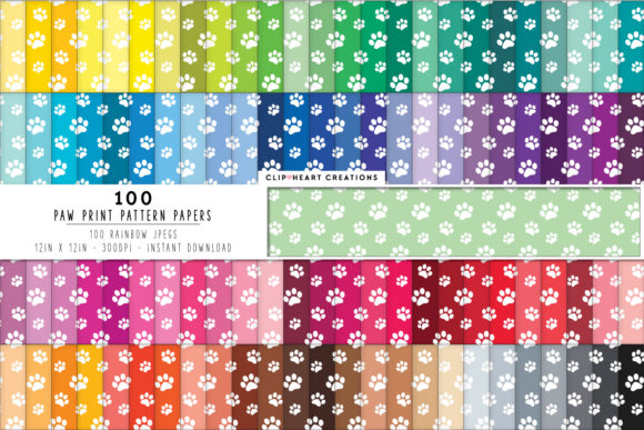 Download Free 100 Paw Prints Pattern Digital Paper Graphic By for Cricut Explore, Silhouette and other cutting machines.
