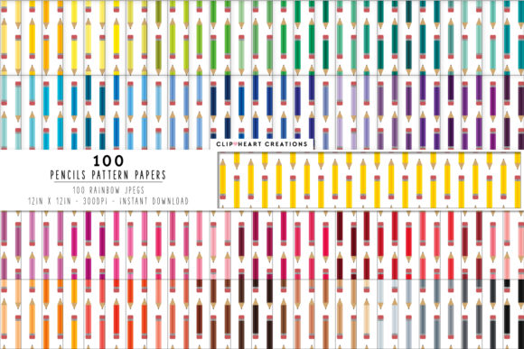 Download Free 100 Pencils Pattern Digital Paper Graphic By Clipheartcreations Creative Fabrica for Cricut Explore, Silhouette and other cutting machines.