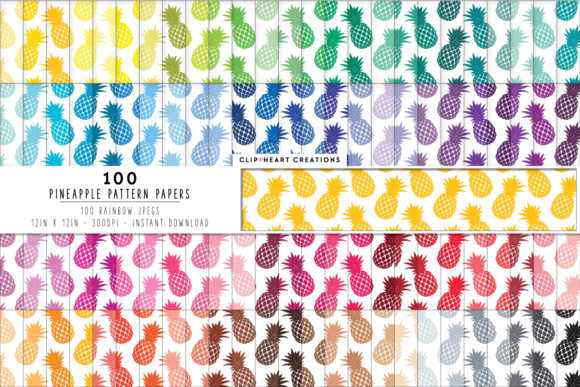 100 Pineapple Pattern Digital Papers Graphic Backgrounds By clipheartcreations