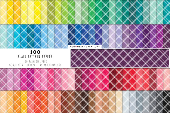 100 Plaid Pattern Digital Papers Graphic Backgrounds By clipheartcreations