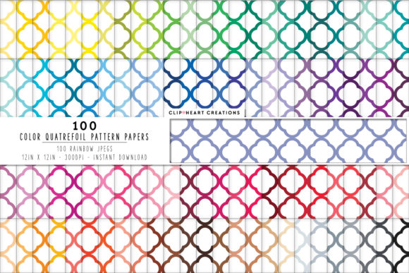 Download Free 100 Quatrefoil Pattern Digital Paper Pac Graphic By for Cricut Explore, Silhouette and other cutting machines.