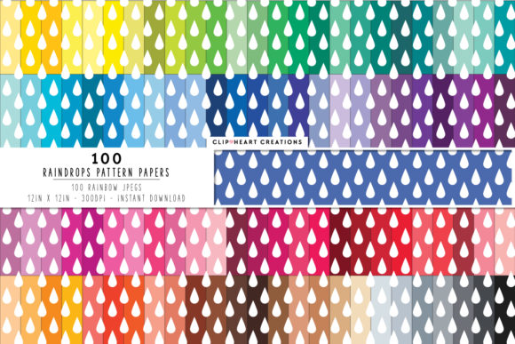 Download Free 100 Raindrop Digital Paper Pack Graphic By Clipheartcreations for Cricut Explore, Silhouette and other cutting machines.