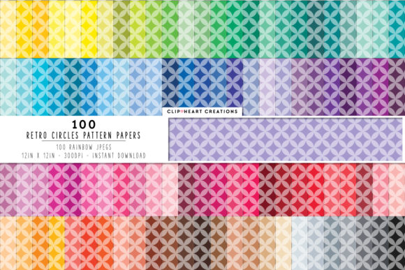 100 Retro Circle Pattern Digital Paper Graphic Backgrounds By clipheartcreations