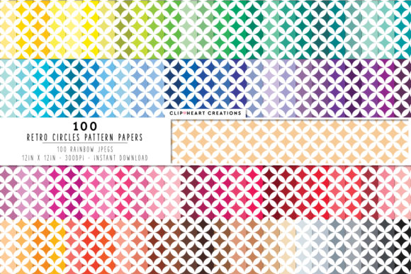 100 Retro Circle Pattern Digital Papers Graphic Backgrounds By clipheartcreations