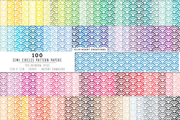 Download Free 100 Semi Circle Pattern Papers Graphic By Clipheartcreations for Cricut Explore, Silhouette and other cutting machines.