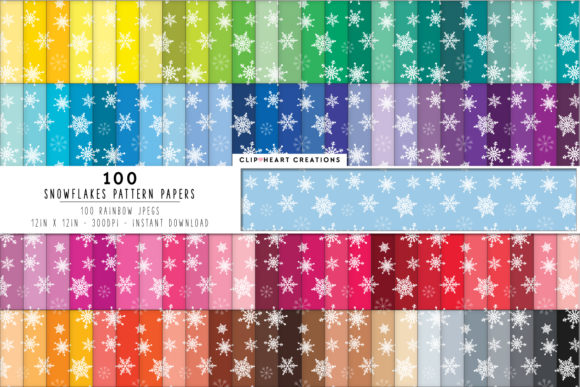 100 Snowflake Pattern Papers Graphic Backgrounds By clipheartcreations