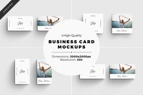 Print on Demand: 4 Business Card MockUps Graphic Product Mockups By Simply Swapnil