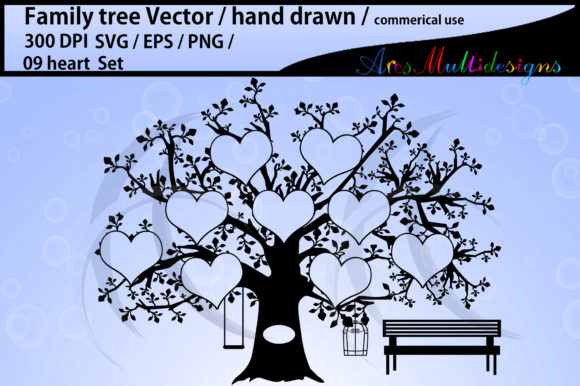 Download Free 9 Heart Family Tree Template Graphic By Arcs Multidesigns for Cricut Explore, Silhouette and other cutting machines.