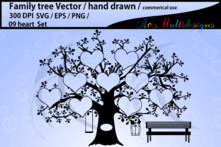 Print on Demand: 9 Heart Family Tree Template Graphic Illustrations By Arcs Multidesigns