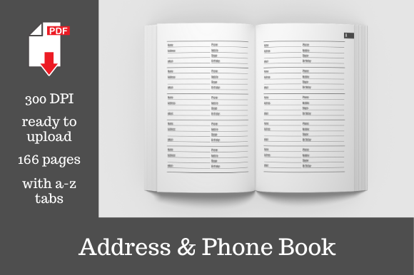 Download Free Address Phone Book Graphic By Kdp Template Designs Creative for Cricut Explore, Silhouette and other cutting machines.