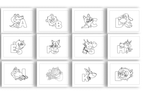 Download Free Alphabet Back Cute Animals Coloring Book Graphic By SVG Cut Files