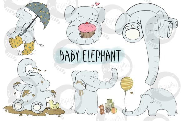 Baby Elephant Graphic Illustrations By Jen Digital Art