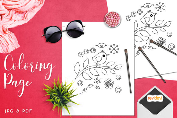 Download Free Bird On A Branch Coloring Graphic By Revidevi Creative Fabrica for Cricut Explore, Silhouette and other cutting machines.