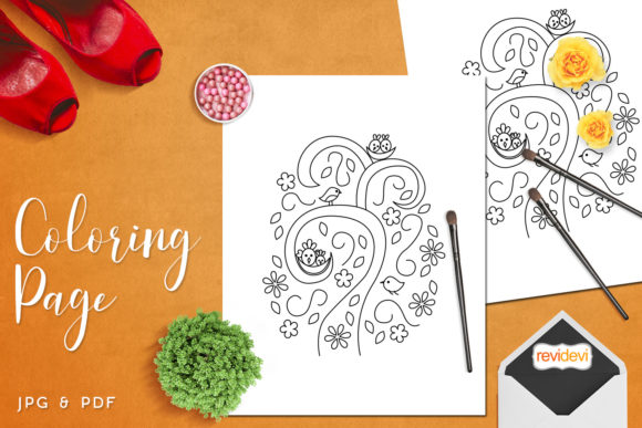 Print on Demand: Birds and Nests Coloring Page Graphic Coloring Pages & Books Kids By Revidevi