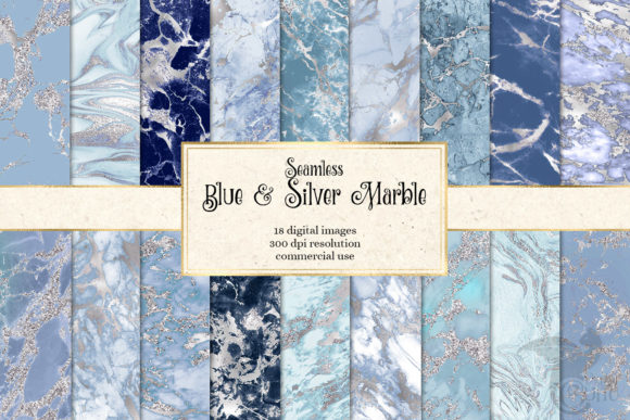 Print on Demand: Blue and Silver Marble Digital Paper Gráfico Texturas Por Digital Curio